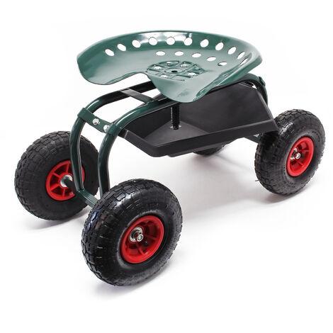 Siège de jardin sur larges roues Charge 150kg max. Chariot coulissant Jardinage avec Repose-genoux