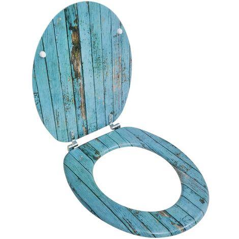Siège de toilette avec couvercle en MDF Design de vieux bois