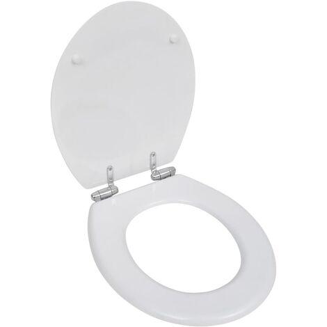 Siège de toilette MDF Couvercle à fermeture en douceur Blanc