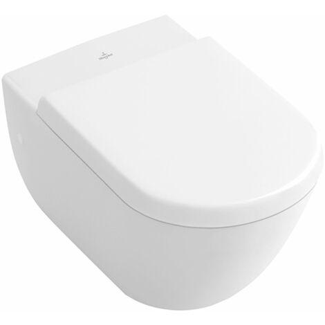 Siège de WC Villeroy und Boch SUBWAY, blanc Charnières à fermeture souple en acier inoxydable - 9M55S101