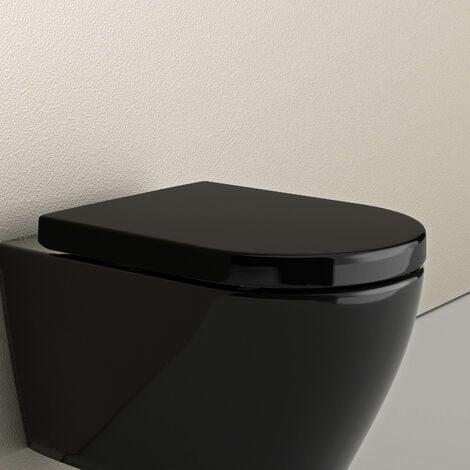 Siège et abattant de remplacement noir pour les WC suspendus BERNSTEIN (CH1088/1088R/NT2019/NT2039/B-8030)