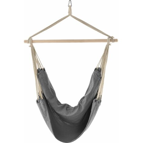 Siège suspendu fauteuil suspendu chaise hamac coton polyester 100 cm gris - Gris