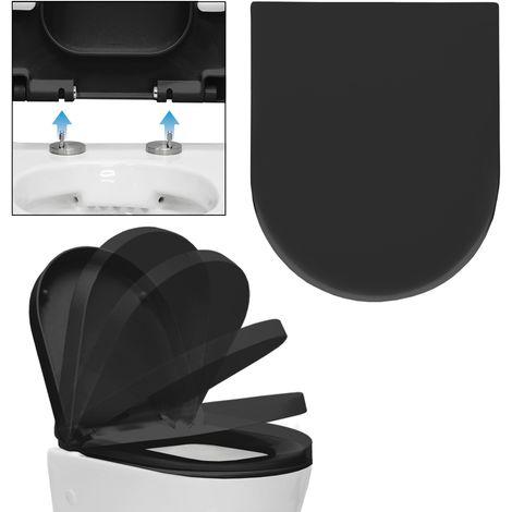 Siège toilette abattant lunette noir wc cuvette soft close fermeture douce