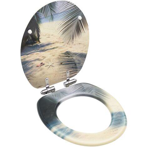 WC-siège Twist Avec Acier Inoxydable Charnière Bahama Beige-En Duroplast