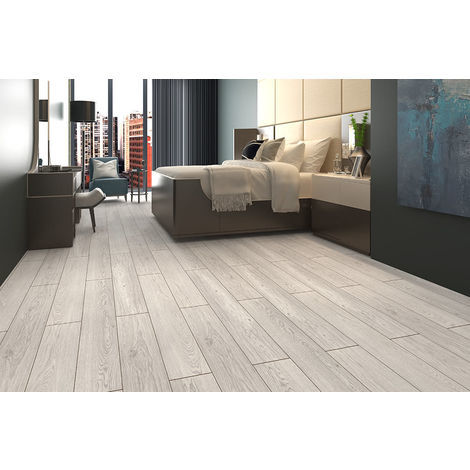 Siegfried White Grey Oak Laminate Flooring 8mm By 193mm 1380mm Sample Fp851