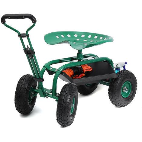 Siège de jardin sur roues Voiture de jardin chariot de jardin tabouret coulissant porte-outil charge 150 kg