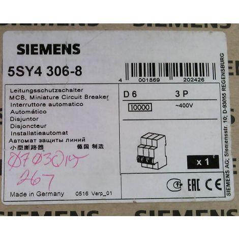 Siemens 5sy4 306-8 circuit breaker D6/3P/400v