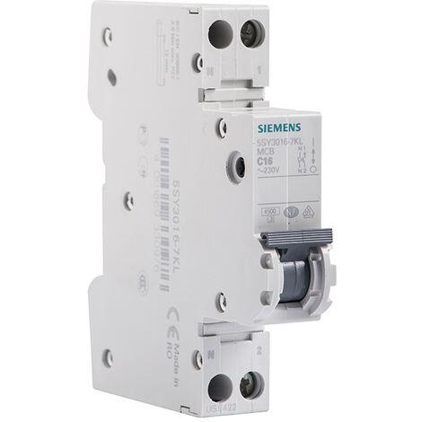 Disjoncteur électrique phase + neutre 16A - SIEMENS