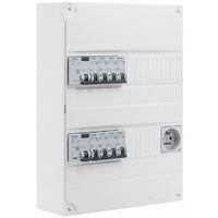 Siemens - Tableau électrique pré-équipé 2 rangées 26 modules 8 disjoncteurs 2 interrupteurs différentiels + prise 2P+T