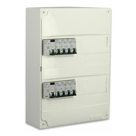 Siemens - Tableau électrique pré-équipé 2 rangées 26 modules 8 disjoncteurs 2 interrupteurs différentiels NFC 15-100