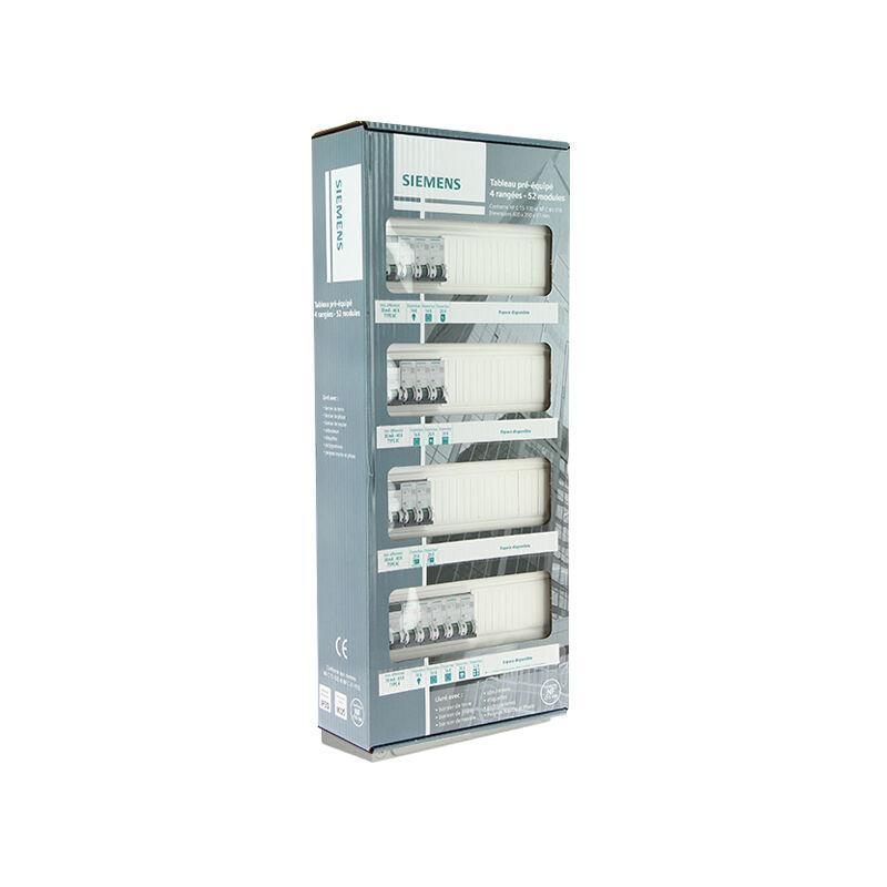 Tableau /électrique pr/é-/équip/é 4 rang/ées 52 modules 13 disjoncteurs 4 interrupteurs diff/érentiels NFC 15-100 SIEMENS