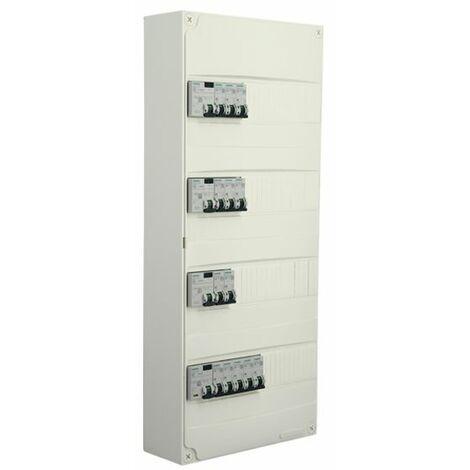 Siemens - Tableau électrique pré-équipé 4 rangées 52 modules 13 disjoncteurs 4 interrupteurs différentiels NFC 15-100
