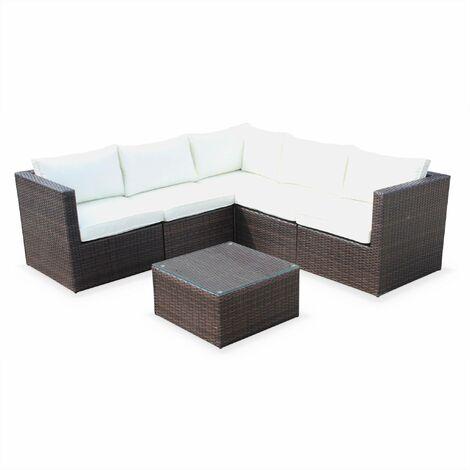 Siena 5 seater rattan garden sofa set, aluminium, chocolate