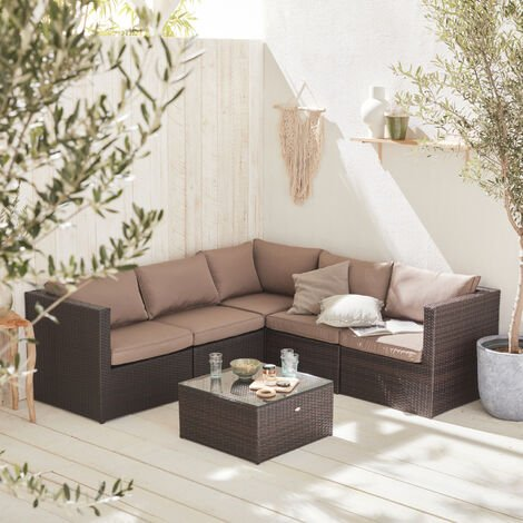 Siena 5 seater rattan garden sofa set, aluminium, chocolate / brown
