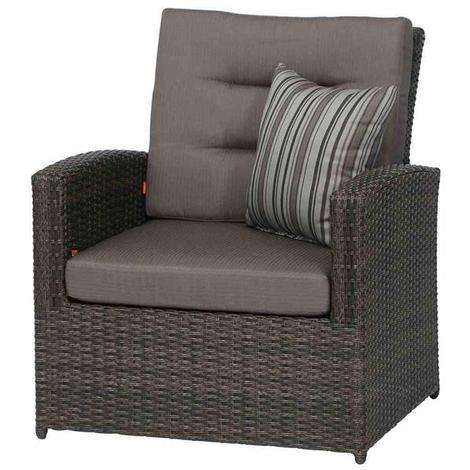 Siena Garden Lounge Sessel / Gartensessel Porto Polyrattan grau