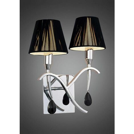 Siena wall light with switch 2 Bulbs E14, polished chrome with black lampshade and black crystal