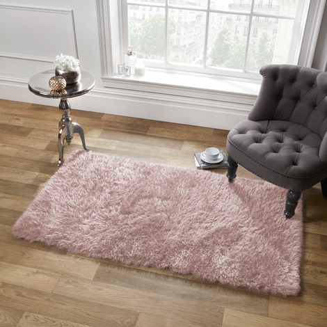Sienna Large Plain Soft Shaggy Floor Rug 5cm Thick Pile Blush Pink, 120 x 170 cm