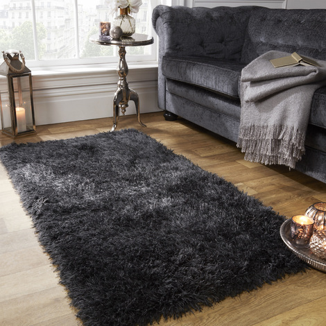 Sienna Large Plain Soft Shaggy Floor Rug 5cm Thick Pile Charcoal, 80 x 150 cm