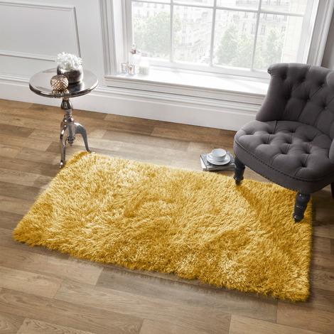 Sienna Large Plain Soft Shaggy Floor Rug 5cm Thick Pile Ochre Yellow, 80 x 150cm