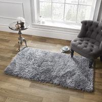 Sienna Large Plain Soft Shaggy Floor Rug 5cm Thick Pile Silver Grey, 80 x 150 cm