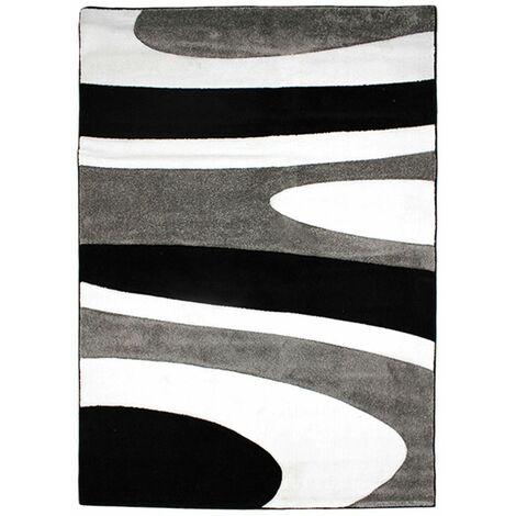 SIENNA - Tapis imprimé courbes abstraites gris et noir 160x230 - Noir