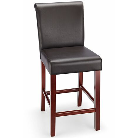 Sienna Walnut Frame Kitchen Bar Stool Brown Padded Seat And Back Brown