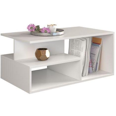 Sienne Table Basse Contemporaine Salon Bureau Avec Niches 90x51x43 Style Scandinave Decor Rangement Magazines Telecommandes Blanc