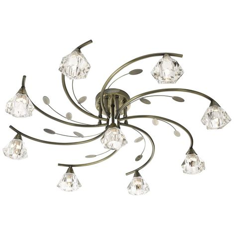 SIERRA - 9 LIGHT SEMI-FLUSH CEILING, ANTIQUE BRASS WITH SCULPTURED CLEAR GLASS SHADES