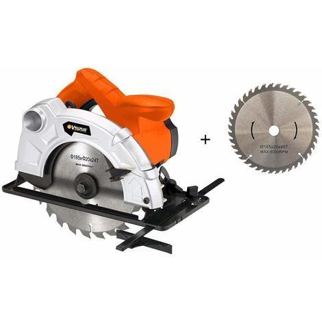 Sierra Circular Disco 185mm 24T + 40T 1200W Laser Guia Corte de 0 a 45º 5000 RPM