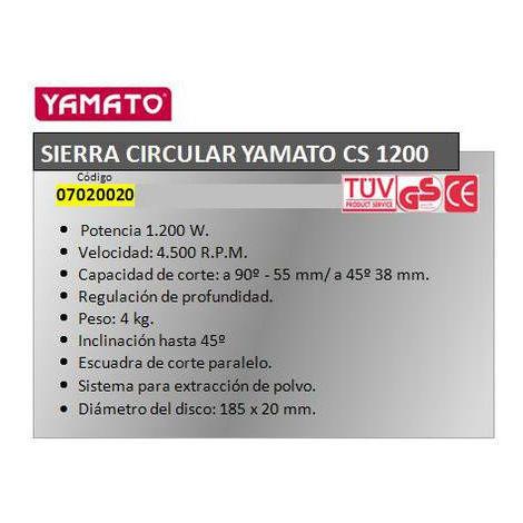 Sierra circular yamato cs 1200 w.