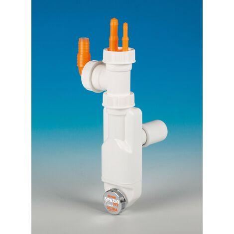 Sifón de ahorro de espacio inspeccionable equipado con doble conexión para el escape LIRA A8500.01 | Blanco