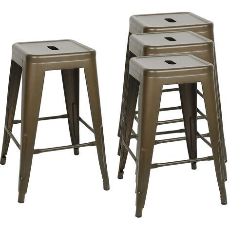 SiFree®4pcs Tabouret Tolix industriel en acier et métal pour bars et cuisines