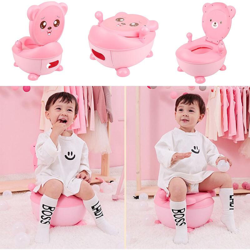 SiFree®Bébé Toilette Pliant,Toilette Portative en Plastique Toilettes pour enfants 33*34*44cm ROSE ,Modèle d'ours Toby