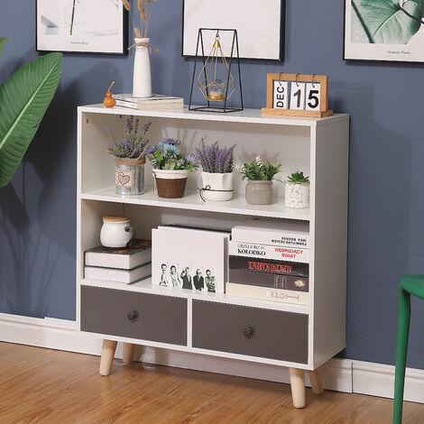 SiFree®Bibliothèque scandinave bois blanc et gris 80*30*90cm