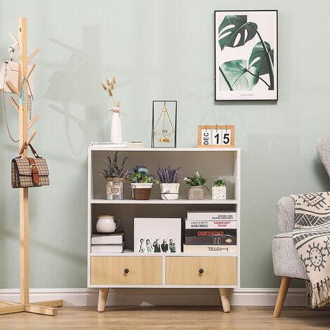 SiFree®Bibliothèque scandinave bois blanc et imitation hêtre 80*30*90cm