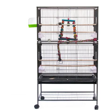 SiFree®Grande Volière pour Oiseaux Cage sur roulettes Canaries Perroquet Perruches Cacatoès Ara 2 Étages