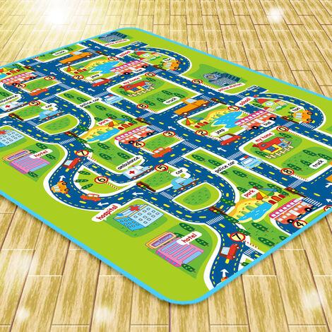 SiFree®Tapis de Jeu Rectangle Géant Circuit Voiture de Course 160x130CM pour Bébé Enfant
