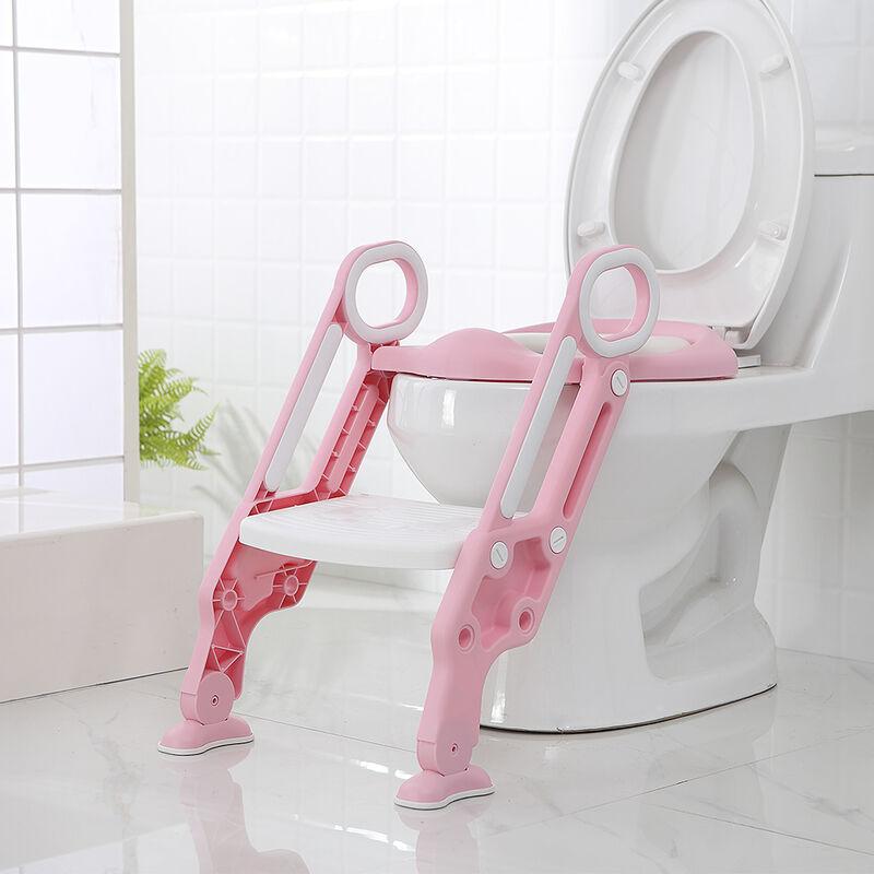 Oobest - Siège de toilette échelle avec marches WC siège pot entraîneur de bébé enfant (rose-blanc) - (rose-blanc)