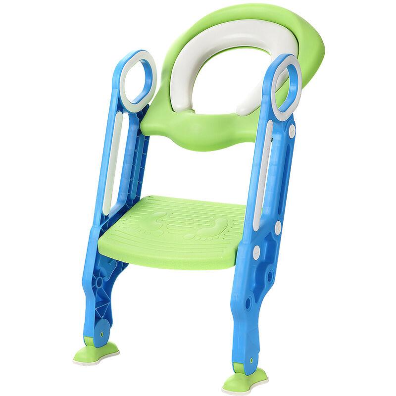 Oobest - Siège de toilette échelle avec marches WC siège pot entraîneur de bébé enfant (bleu-vert) - (bleu-vert)