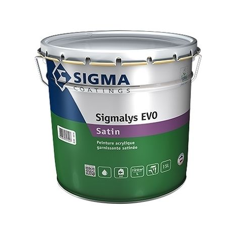 SIGMALYS EVOL SATIN BLANC 15L - Peinture acrylique garnissante satinée - SIGMA
