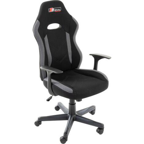 SIGNAL RAPID Gamerstuhl, Computerstuhl, Chefsessel, Bürostuhl, Schreibtischstuhl, bequem, Drehstuhl, höhenverstellbar:schwarz/grau