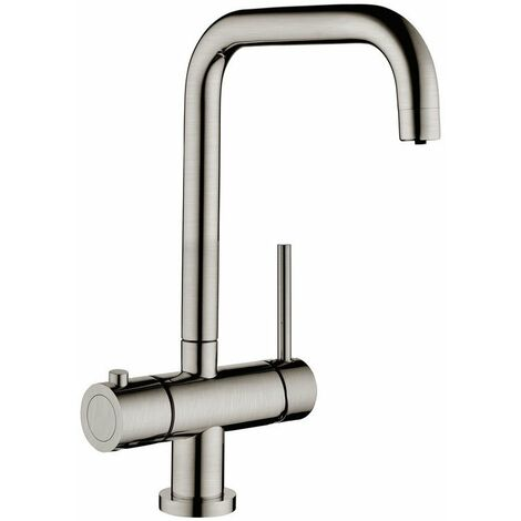 Signature 3 in 1 Hot Kitchen Sink Mixer Tap - Brushed Steel