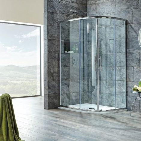 Signature 8mm Double Door Offset Quadrant Shower Enclosure 1000mm x 800mm