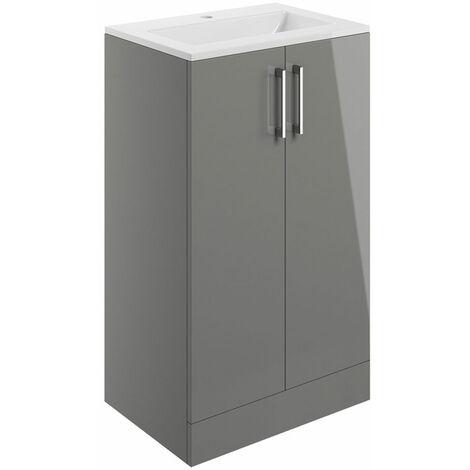 Signature Aalborg Floor Standing 2-Door Vanity Unit with Basin 510mm Wide - Grey Gloss