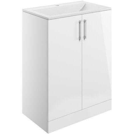 Signature Aalborg Floor Standing 2-Door Vanity Unit with Basin 600mm Wide - White Gloss