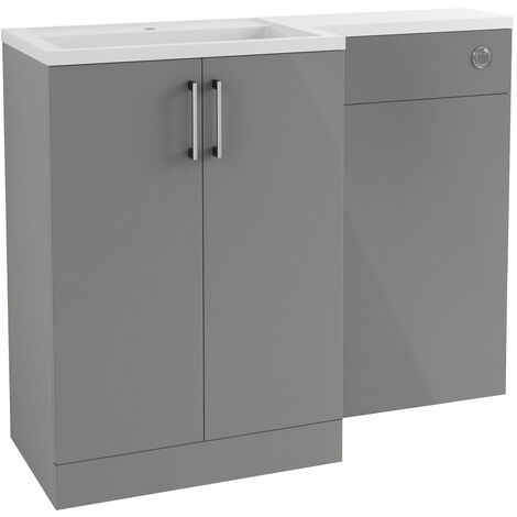 Signature Aalborg LH Combination Unit with Polymarble Basin 1100mm Wide - Grey Gloss