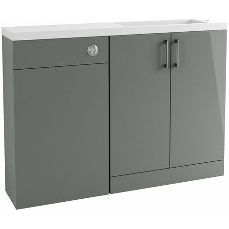 Signature Aalborg Space Saving Combination Unit with Polymarble Basin 1200mm Wide - Grey Gloss