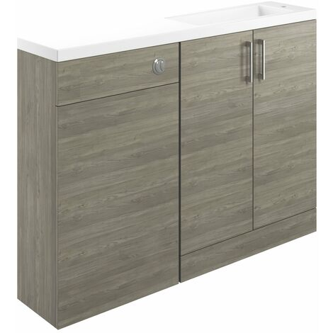 Signature Aalborg Space Saving Combination Unit with Polymarble Basin 1200mm Wide - Grey Nordic Wood