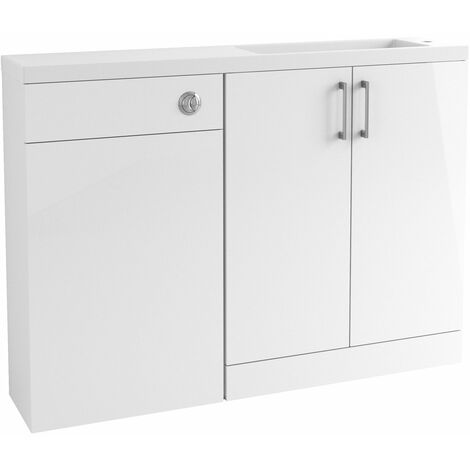 Signature Aalborg Space Saving Combination Unit with Polymarble Basin 1200mm Wide - White Gloss