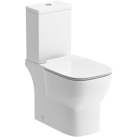 Signature Achilles Close Coupled Open Back Toilet with Push Button Cistern - Soft Close Seat
